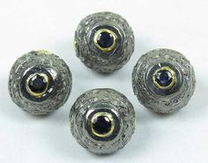 Natural Blue Sapphire Stone Ball With Diamond  Pave by GEMSICON