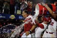 Great shot - University of Alabama Coach Murphy taking the gatoraid bath after winning the 2012 Women's Softball National Championship - RTR