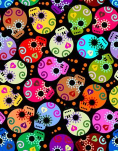Fabric - Stylized Day of the Dead skulls on black