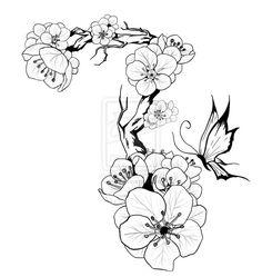 A tattoo design I made for my girlfriend. She took this onto her left shoulder/arm Plum Blossom tattoo design Tattoo Stencil Designs, Flower Tattoo Stencils, Tattoo Sleeve Designs, Flower Tattoos, Vintage Blume Tattoo, Vintage Flower Tattoo, Vintage Flowers, Flower Sleeve, Flower Tattoo Shoulder