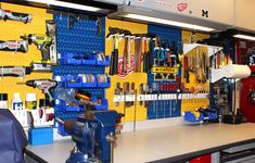 With 10 stocked pegboard colors and 4 stocked accessory colors creating a custom or themed workspace is easy to do. This University of Michigan themed workspace is a great example of what can be done with multiple pegboard colors and a little creativity. Thanks for the great customer submission David!