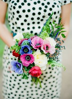 Polka Dots + Anemones -- You KNOW you gotta' check out THIS wedding!! Click the pic - or here: http://www.StyleMePretty.com/2014/05/21/easy-elegance-in-the-marin-headlands/ Photography: DanielKimPhoto.com + Floral Design: Alexandra Rose Franco of FireworksAndPerfume.com