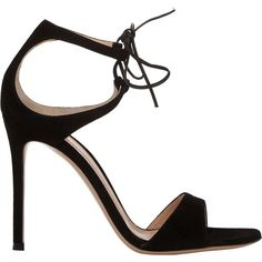 Gianvito Rossi Women's Darcy Double-Strap Sandals (6.285 DKK) ❤ liked on Polyvore featuring shoes, sandals, heels, gianvito rossi, black, leather sandals, leather sole sandals, black leather shoes, ankle strap sandals and black sandals