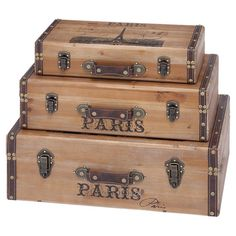 3 wood trunk-inspired storage boxes with banded accents and Parisian detailing.  Product: Small, medium and large storage box