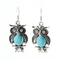 GR JEWELRY Wholesale Vintage Bohemia Owl Pendant Earrings For Women Fashion Turquoise Stone Retro Owl Stud Earrings