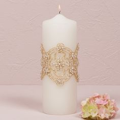 Gorgeous beading on the Luxe Collection Unity Candle - Bridal Everything