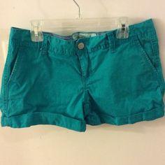 Aeropostale short shorts. Teal. Size 6. Like new! Super cute short cuffed shorts. Aeropostale Shorts