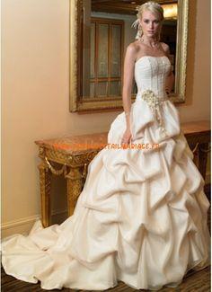 Belle robe originale 2012 ivoire avec traîne drapé robe de mariée organza