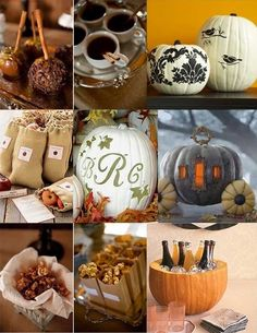 Candy apples! Coffee / tea with cinnamon sticks! Vintage pumpkins ! Perfect for our autumn wedding aaannd it matches the purple and orange theme!
