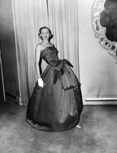 """1957 - Christian Dior """"Grand Bal"""" Evening Dress in Rose Red Organza, photo by George W. Hales,"""