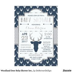 Woodland Deer Baby Shower Invitation in Navy and Silver