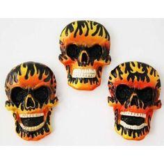 Flaming Skull Fridge Magnet Gothic Inspired Design AU$2.99