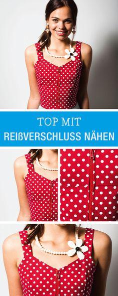 Kostenlose Nähanleitung für ein süßes Sommer-Top mit Reißverschluss / fashion diy: sewing tutorial and pattern for a top with zipper via DaWanda.com