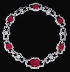Lot 570 - RUBY AND DIAMOND NECKLACE, 1930S