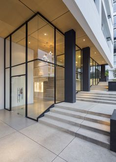 Image 25 of 26 from gallery of Onyx Building / Diez + Muller Arquitectos. Photograph by Diez + Muller Arquitectos Building Renovation, Building Exterior, Building Design, Box Building, Lobby Design, Entrance Design, Facade Design, Entrance Ideas, Facade Architecture
