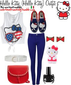 """Hello Kitty (Hello Kitty) Outfit:"" by martinafromitaly ❤ liked on Polyvore"