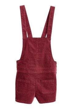 Dungaree shorts: Dungaree shorts in narrow-wale corduroy with adjustable straps with concealed fasteners at the back, patch front pockets and a concealed zip in the side.