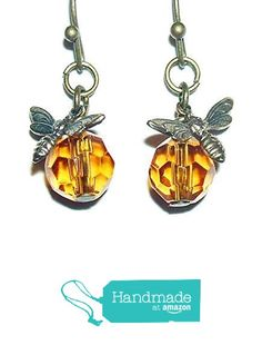 BEE EARRINGS Honey Amber Crystal GLASS Drop Dangles SAVE THE BEES from Art Jewelry For You https://www.amazon.com/dp/B016TS5XZI/ref=hnd_sw_r_pi_dp_PB0QybQTKDDEP #handmadeatamazon