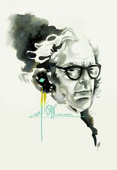Isaac Asimov, el divulgador. Ilustración realizada por María Emegé, para Fabulantes -   http://www.fabulantes.com/2013/05/isaac-asimov-el-divulgador/