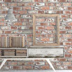 Quality Brick Effect Wallpaper - Red & White Faux Brick Wall Tiles - W&M – Woodchip & Magnolia Fake Brick Wallpaper, Look Wallpaper, Wallpaper Samples, Faux Brick Walls, Urban Loft, Design Repeats, Brickwork, Red Bricks, Loft Style