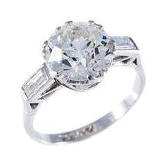 3.34 Carat Edwardian Diamond Platinum Solitaire Ring