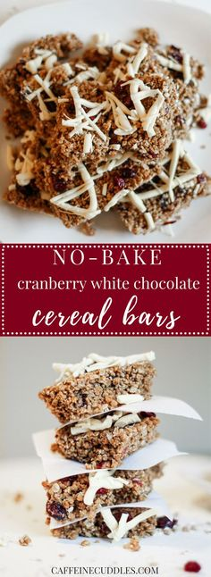 No-Bake Cranberry White Chocolate Cereal Bars. This 6 inredient recipe for Grape-Nut bars is a Delicious and Easy way to Enjoy a Healthy breakfast on The Go