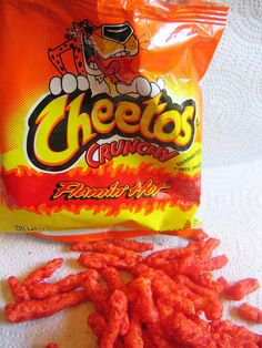 a bag of Flamin' Hot Cheetos