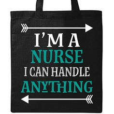 276591913d Funny nurse Personalized Tote Bag - Black nursing occupation gift says I'm  a nurse I can handle anything.