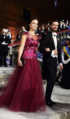 royalwatcher:  Nobel Prize Ceremony, Stockholm, Sweden, December 10, 2014-Sofia Helqvist and Prince Carl Philip