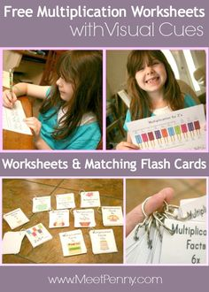 Free multiplication worksheets that have visual cues. Even has matching flash cards.