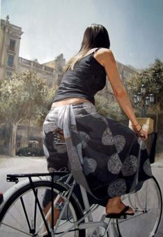 Marc Figueras.  Figurative Painter in a 'Snapshot' style. Lovely Dress