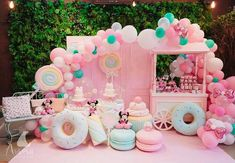 You can never go wrong with a little pink! Baby's first birthday? Pink decor for baby's birthday bash. Candy Theme Birthday Party, Birthday Party Design, Donut Birthday Parties, Kids Birthday Themes, Carnival Birthday Parties, Donut Party, Candy Party, Birthday Balloons, Birthday Decorations