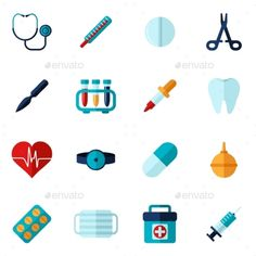 Buy Medical Icons Flat Set by macrovector on GraphicRiver. Medical icons flat set with syringe stethoscope bandage isolated vector illustration. Editable EPS and Render in JPG . App Design, Icon Design, Flat Design, Medical Illustration, Illustration Styles, Illustrations, School Icon, Medical Icon, Information Graphics