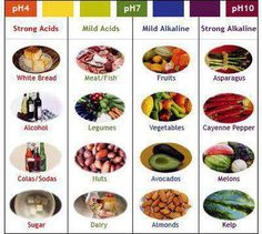 Alkaline & Acidic Foods:  You will want to eat as much alkaline as possible to prevent disease. Cancer cells, for instance, cannot live in an alkaline environment (body).  Aha, the cure for cancer!  Spread the word!