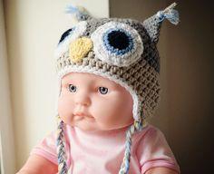 Owl baby crochet hat