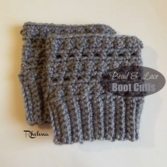 Free crochet pattern for a pair of Bead and Lace Boot Cuffs. The boot cuffs are given in one size only, but can be crocheted to any size needed.