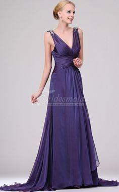 Custom Made Lavender Silk Like Chiffon V-Neck Long Bridesmiad Dress,Purple Bridesmaid Dresses