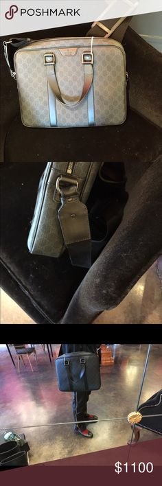 "Gucci gray canvas leather logo satchel unisex This is fantastic!! Lightweight easy chic and perfect!! Height 11.5"" width 14.5"" depth 3"". I do not sell fakes ever do not waste your time on that. No dustbag. No trades price is firm offers not accepted Gucci Bags Briefcases"