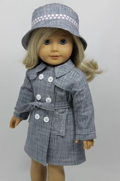 American Girl Doll raincoat trenchcoat and by dollpetitecouture, $34.00