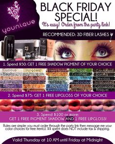Look for this special to begin in November!  Every Friday 11/21/14 thru 12/12/14.  Get your Christmas gifts and then some! #beauty #younique #mineralmakeup www.youniqueproducts.com/jillianwestfall