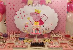 Peppa Pig Party  Violeta Glace 5th Birthday Party Ideas, Happy 2nd Birthday, Birthday Party Decorations, Cumple Peppa Pig, Peppa Pig Birthday Cake, Candy Bar Party, Pig Party, Decoration Table, Alice