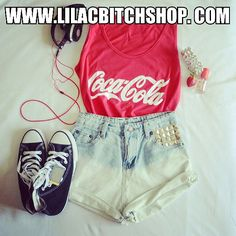 Coca cola tank top and Converse all star sneackers. All of them u can buy on our official site www.lilacbitchshop.com :-)