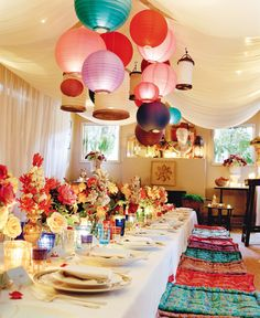 sit-down turkish dinner — Nathan Turner Moroccan Theme Party, Moroccan Decor, Moroccan Style, Moroccan Wedding, Diner Party, Arabian Nights Theme, Dinner Themes, Dinner Parties, Paper Lanterns