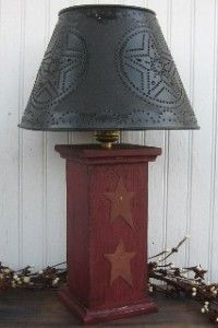 Primitive Barn Red Lamp with Stars Rustic Tin Star Shade