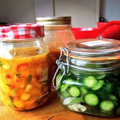 Pineapple scotch bonnet salsa (lactofermented) and homemade dill cumbers.
