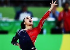 Lauren Hernandez of the United States competes on the floor during Women's qualification for Artistic Gymnastics on Day 2 of the Rio 2016 Olympic Games at the Rio Olympic Arena on August 7, 2016 in Rio de Janeiro, Brazil.