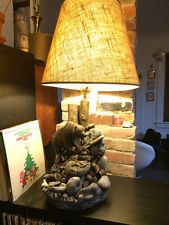 RaRe VINTAGE CHALK Apsit Bros Grizzly BEAR LAMP CALIFORNIA chalkware light black