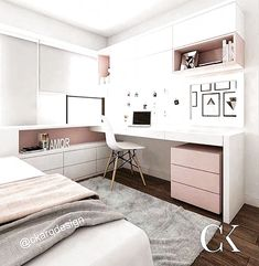 FOR EVERYTHING for this kitchen! What a beautiful combination of gold, rose and – Zimmer deko ideen - Diy Furniture Cute Bedroom Ideas, Cute Room Decor, Girl Bedroom Designs, Small Room Bedroom, Room Decor Bedroom, Girls Bedroom, Master Bedroom, Dream Rooms, Dream Bedroom