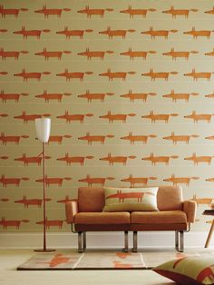 MR FOX WALLPAPER The iconic Mr Fox design from British brand Scion adds real character to the home. For the full Mr Fox look team the wallpaper, cushions and rug together! Said Wallpaper, Fabric Wallpaper, Wallpaper Online, Foxy Wallpaper, Baby Tapeten, Scion Mr Fox, Casa Retro, Friendly Fox, Modern Fabric