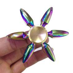Rainbow Brass 6 Sided Bullet Fidget Spinner – FINGERTOYBOX